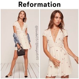 Reformation Raquel dress cherry tart print XS NWT